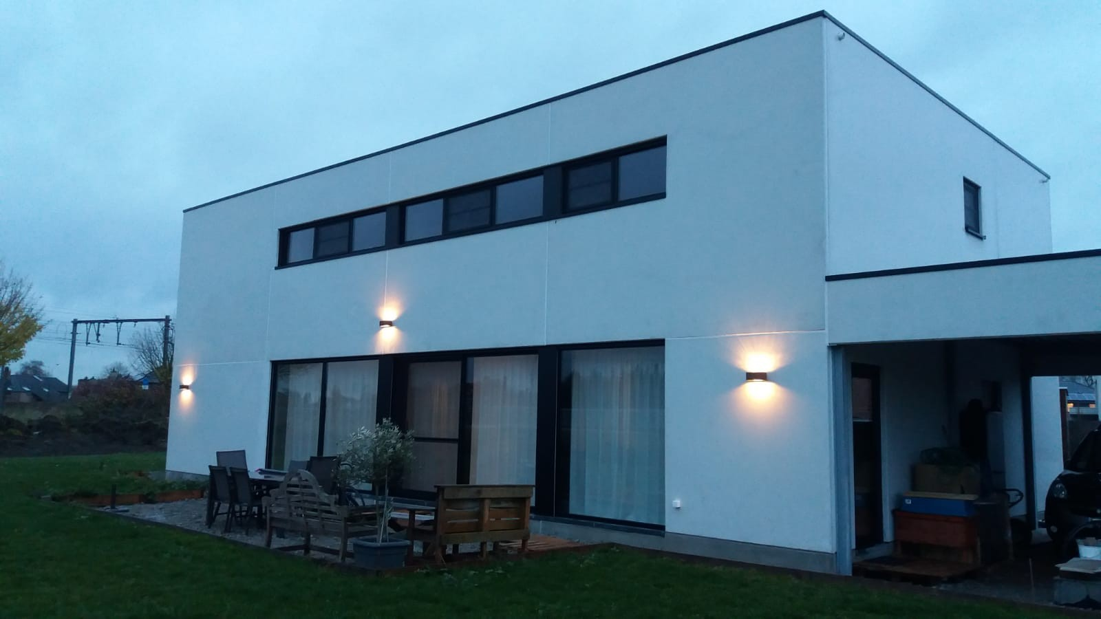 House with white concrete panels
